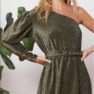 One sleeve self buckled glitter dress